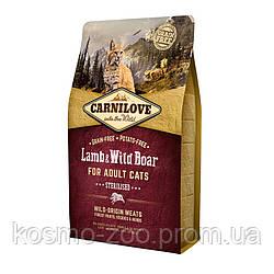Корм Карнилав (Carnilove Lamb & WildBoar Sterilised) с ягнёнком и диким кабаном для стерилизованных кошек 6 кг