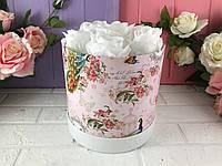 """Розовая шляпная коробка """"Павлин"""" (набор из 3 шт)"""