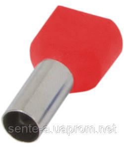 Изолированный наконечник e.terminal.stand.te.2.2.5.red (TE2510 red) 2x2,5  кв.мм, красный