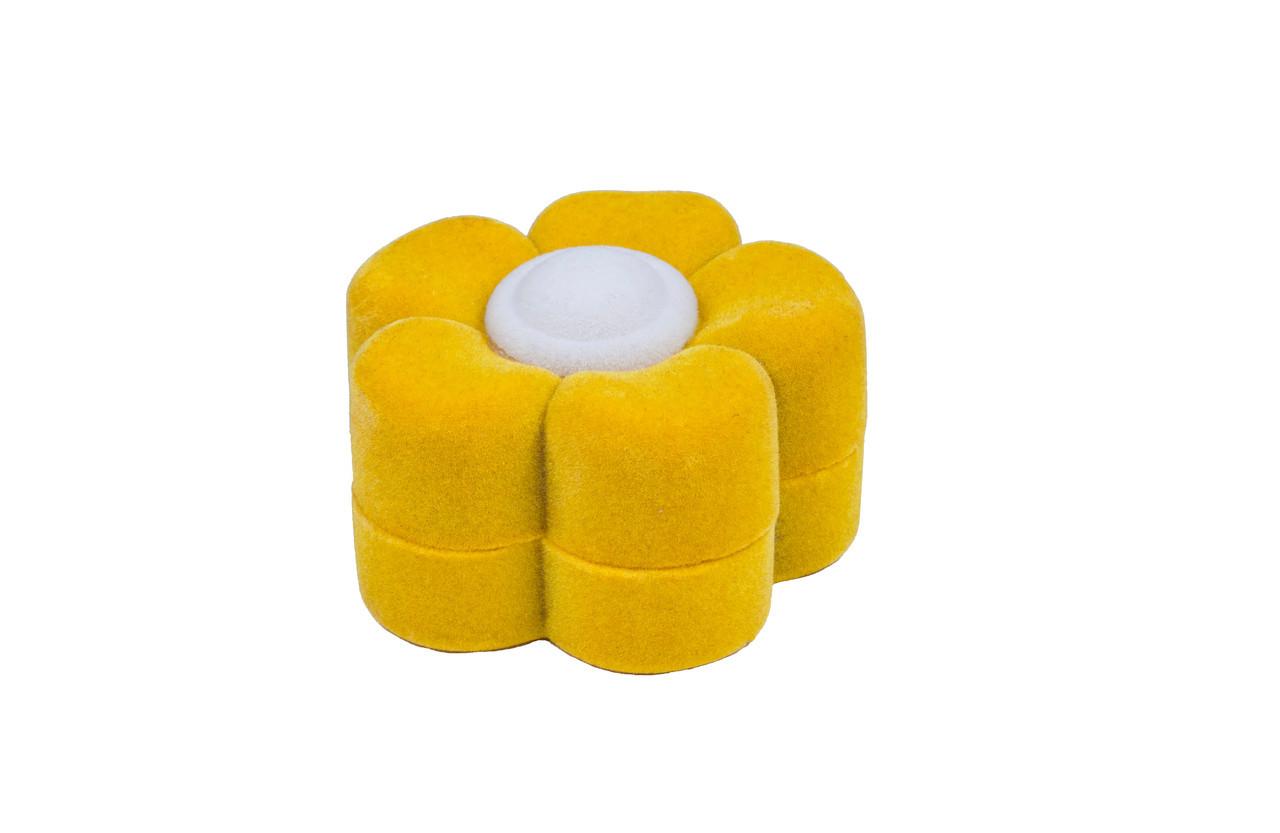 """Футляр бархатный под кольцо """"Ромашка"""" жёлтая"""