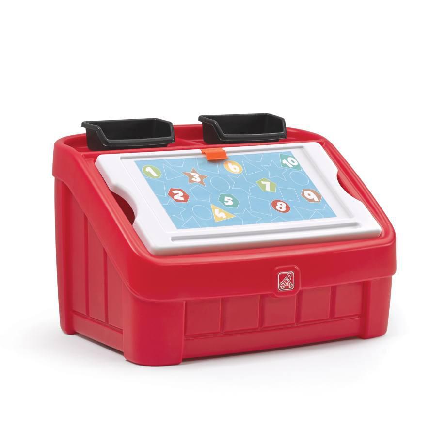 """2 в 1: комод для игрушек и поверхность для творчества """"BOX & ART"""" красный"""