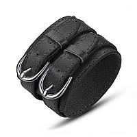 Кожаный браслет черный с двумя округлыми пряжками