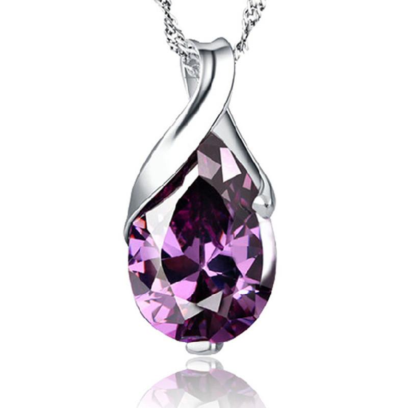 """Красивый женский кулон из металла """"Фиолетовый кристалл""""!"""