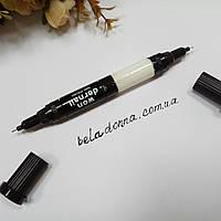 Карандаш маркер для ногтей черно/белый 2в1