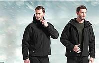 Мужская тактическая куртка Soft Shell черного цвета