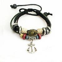 Кожаный браслет черный с бусинами и якорем
