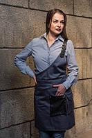 Фартук официанта серый на одно плечо, униформа для персонала, индивидуальный пошив, все размеры