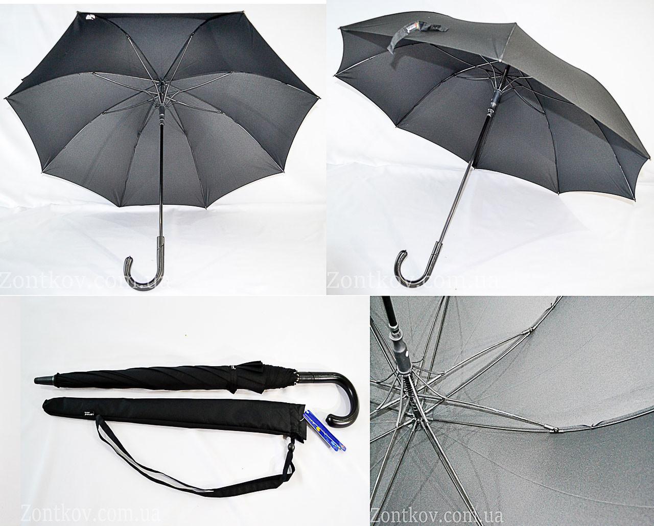 """Чорний парасолька-палиця з якісним каркасом і маківкою 117 див. від фірми """"Lantana"""""""