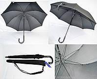 """Чорний парасолька-палиця з якісним каркасом і маківкою 117 див. від фірми """"Lantana"""", фото 1"""