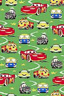 Детский ковролин Машины зеленый 2м 2,7м