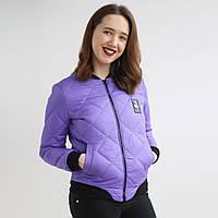 Молодежная женская куртка на весну сиреневого цвета