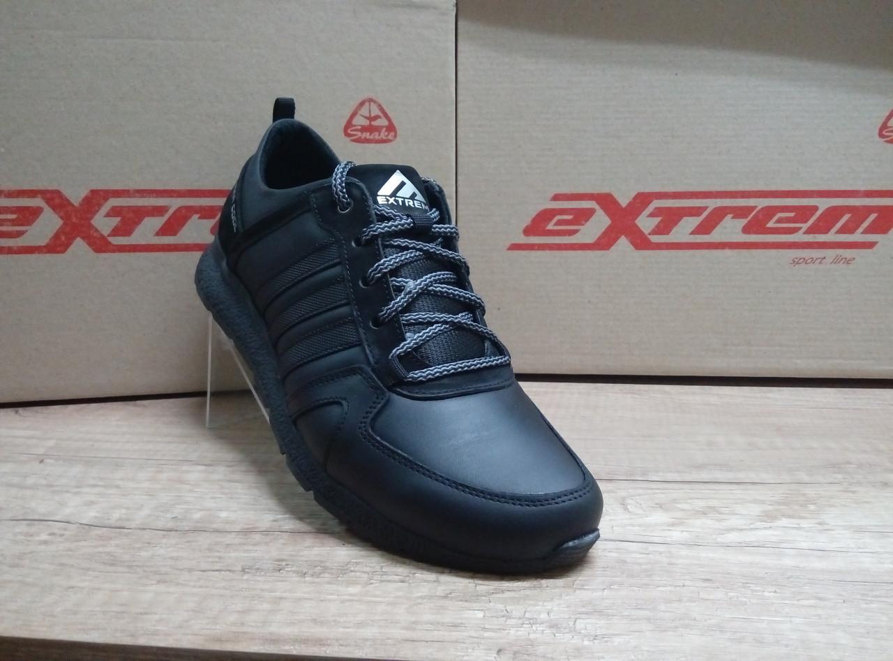 Чёрные мужские кроссовки из натуральной кожи ТМ EXTREM.