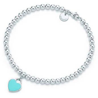 Серебряный браслет с подвеской в форме сердца с покрытием эмалью бирюзового цвета в стиле Tiffany