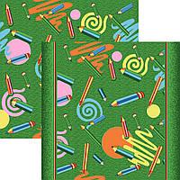 Детский ковролин Карандаши зеленый фон 1м 4м