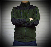 Мужская флисовая толстовка со вставками зеленая