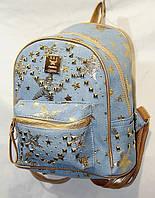 """Рюкзак женский джинсовый с заклепками размер 22*22*10 (4 цветов) """"LORAN"""" купить оптом в Одессе на 7км, фото 1"""
