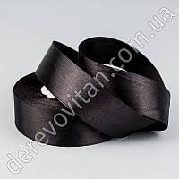 Лента атласная, черная, 2,5 см×23 м
