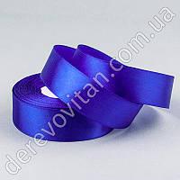 Лента атласная, синяя, 2,5 см×23 м