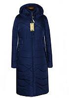 Теплое длинное женское пальто на силиконе
