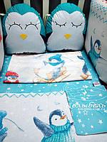 """Комплект в детскую кроватку """"Пингвинчики"""". Бортик на 4 стороны и постельное"""