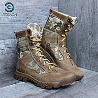 Берцы армейские ARS-2 пиксель ВСУ кожа крейзи демисезонная обувь для армии