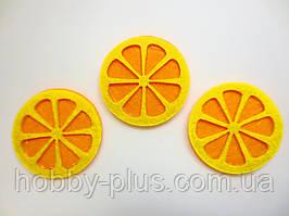 """Высечка из фетра """"ДОЛЬКА АПЕЛЬСИНА"""", цвет  желто-оранжевый, d 4 см."""