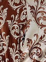 """Двусторонняя портьерная ткань """"Нежный вензель, коричневый, фото 1"""