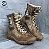 Ботинки с высокими берцами ARS-2 мультикам кожа крейзи демисезонная тактическая обувь