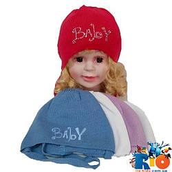 Детская шапка (весна-осень), тонкая вязка для девочек на завязках, р-р 36-38