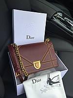 "Стильная сумочка Dior ""Diorama"" бордо (реплика), фото 1"