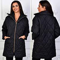 """Женская куртка-пальто """"Бусинки"""" черная, фото 1"""