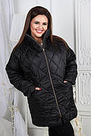 """Женская куртка-пальто """"Бусинки"""" черная"""