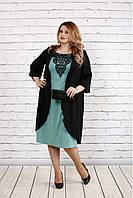 fe83a51ff7b Свободное платье больших размеров с кружевом 0747 цвета шалфей