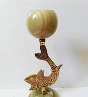 Подсвечник-рыба (619) из оникса с латунью