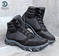 Ботинки мужские замшевые ARS-7 черные демисезонная тактическая обувь