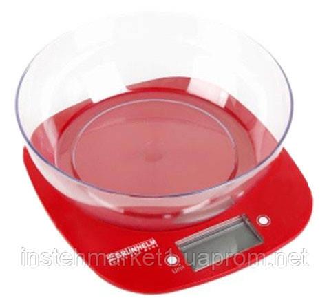 Весы кухонные с чашей Grunhelm KES-1PR (красные) в интернет-магазине