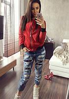 Женская демисезонная куртка бомбер красная