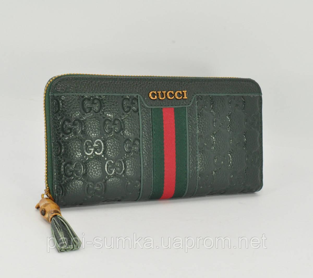 5a6070ad9c14 Кошелек женский кожаный на молнии Gucci 8015 темно-зеленый: продажа ...