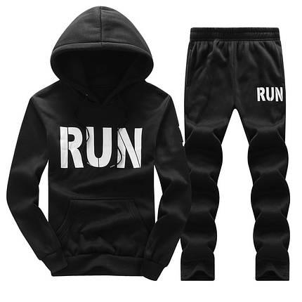 Мужской спортивный костюм RUN для бега черный, фото 2