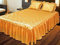 Покрывало Гламур 180х210 с подушками 45х65, золотой