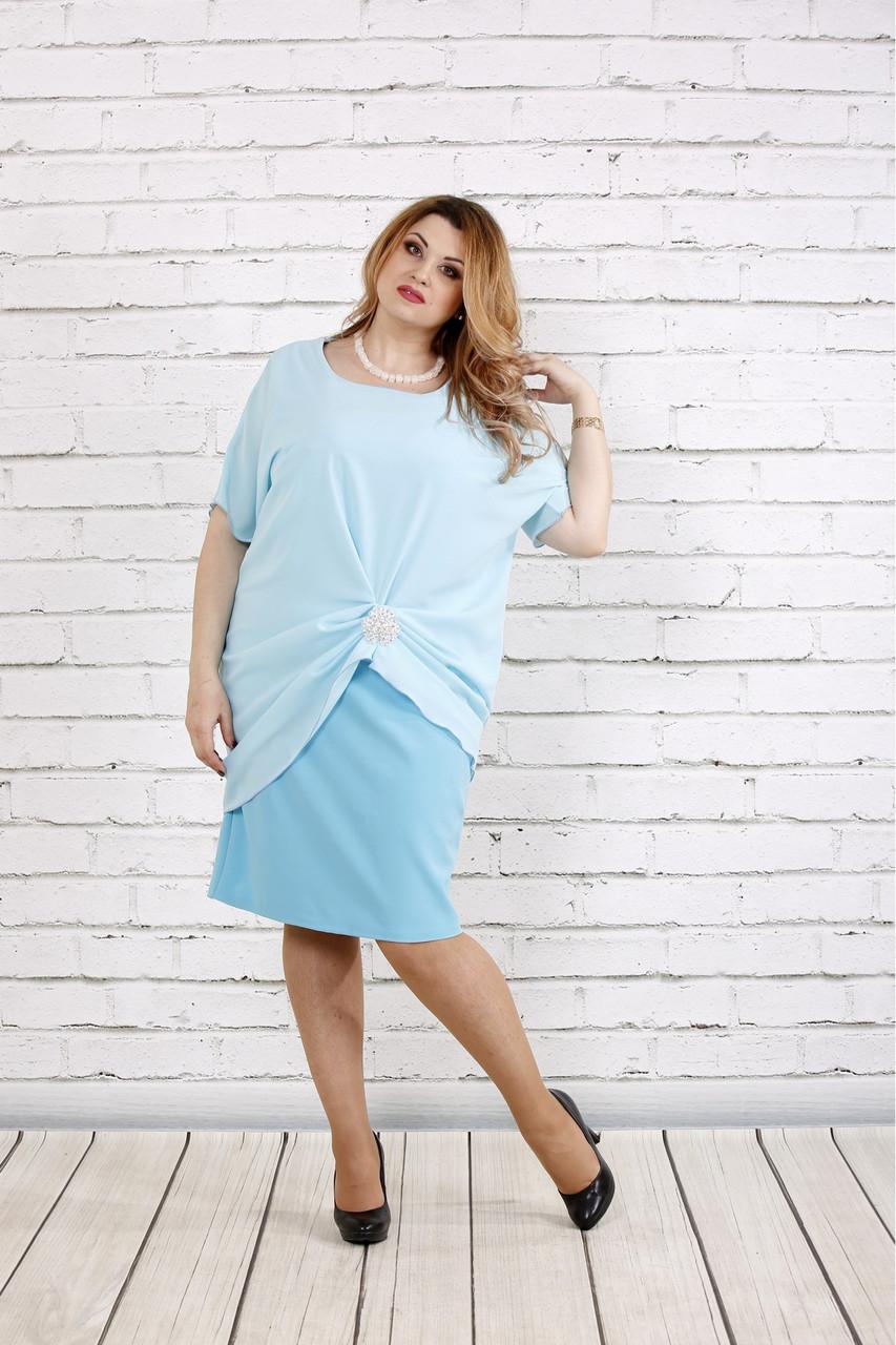 7dadcf53f7c Голубое платье больших размеров с шифоном 0745 - V Mode