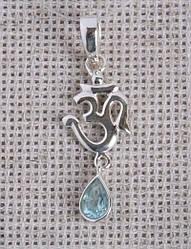Серебряный кулон Ом с голубым топазом