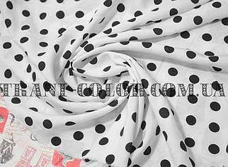 Ткань штапель принт черный горох 1см на белом фоне