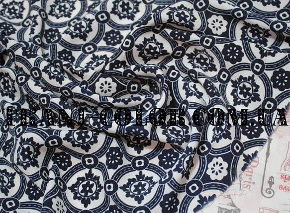 Ткань штапель принт темно-синий орнамент на белом фоне, фото 2