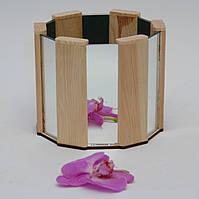 Кашпо из дерева для цветов со вставками зеркала в подарочной коробке WoodMood