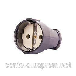 Гнездо штепсельное e.socket.003.16.black, с з/к 16А 250В, черный