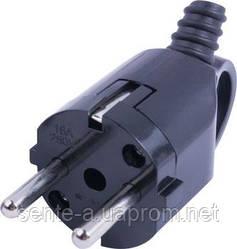 Вилка бытовая e.plug.angle.006.16, с з/к, 16А, угловая, черная, с ручкой