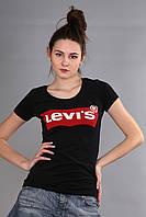 Женская футболка (реплика) Levi's черного цвета