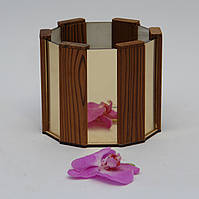 Деревянное кашпо со вставками зеркала в подарочной коробке WoodMood