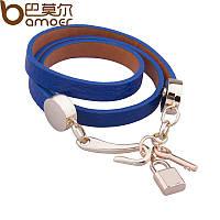 Кожаный браслет синий с подвесами Ключ и Замок